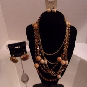 """NWTS 1 ESMOR 33"""" NECKLACE & EARRINGS RETAIL $27 J6"""